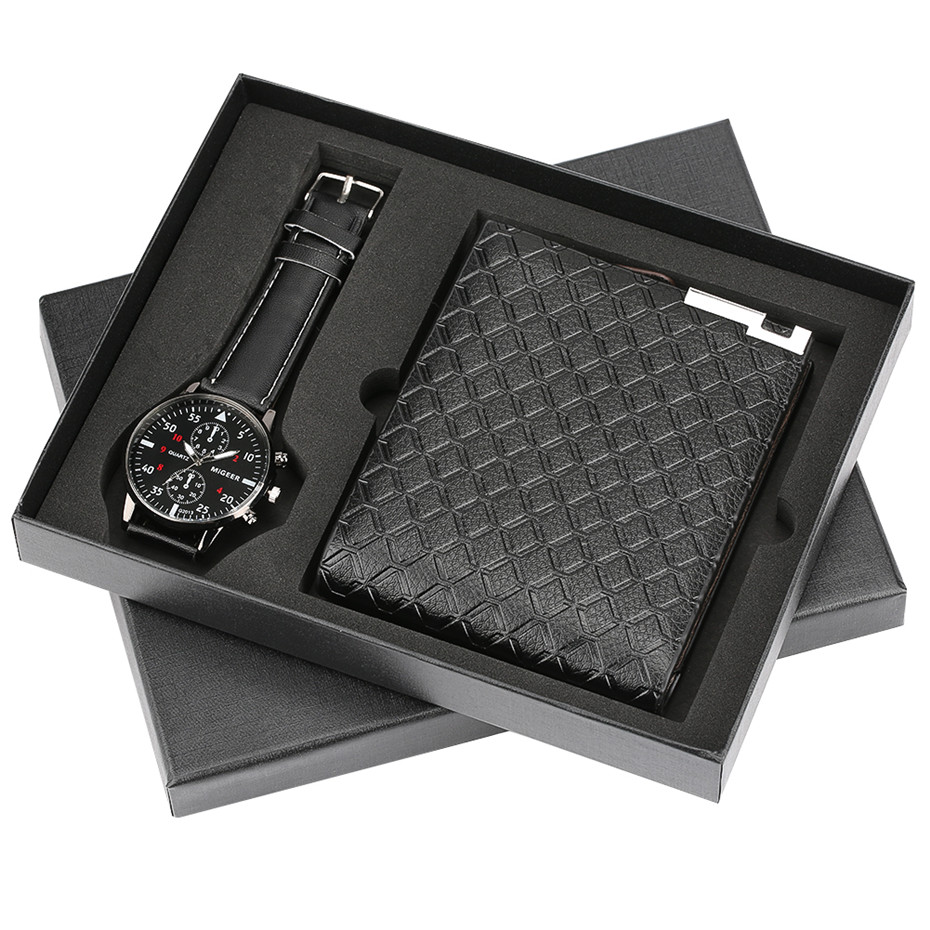 Modern Black Watch Wallet Gift Set For Male Luxury Cool Mens Wristwatch Fashion Clock Birthday Gifts Father Reloj In Quartz Watches From On