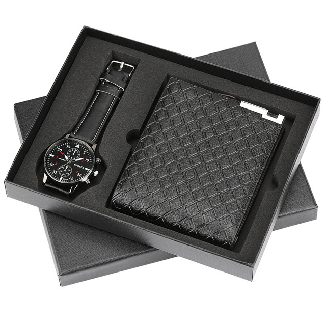 Modern Black Watch Wallet Gift Set For Male Luxury Cool Mens Wristwatch Fashion Clock Birthday Gifts Father Reloj