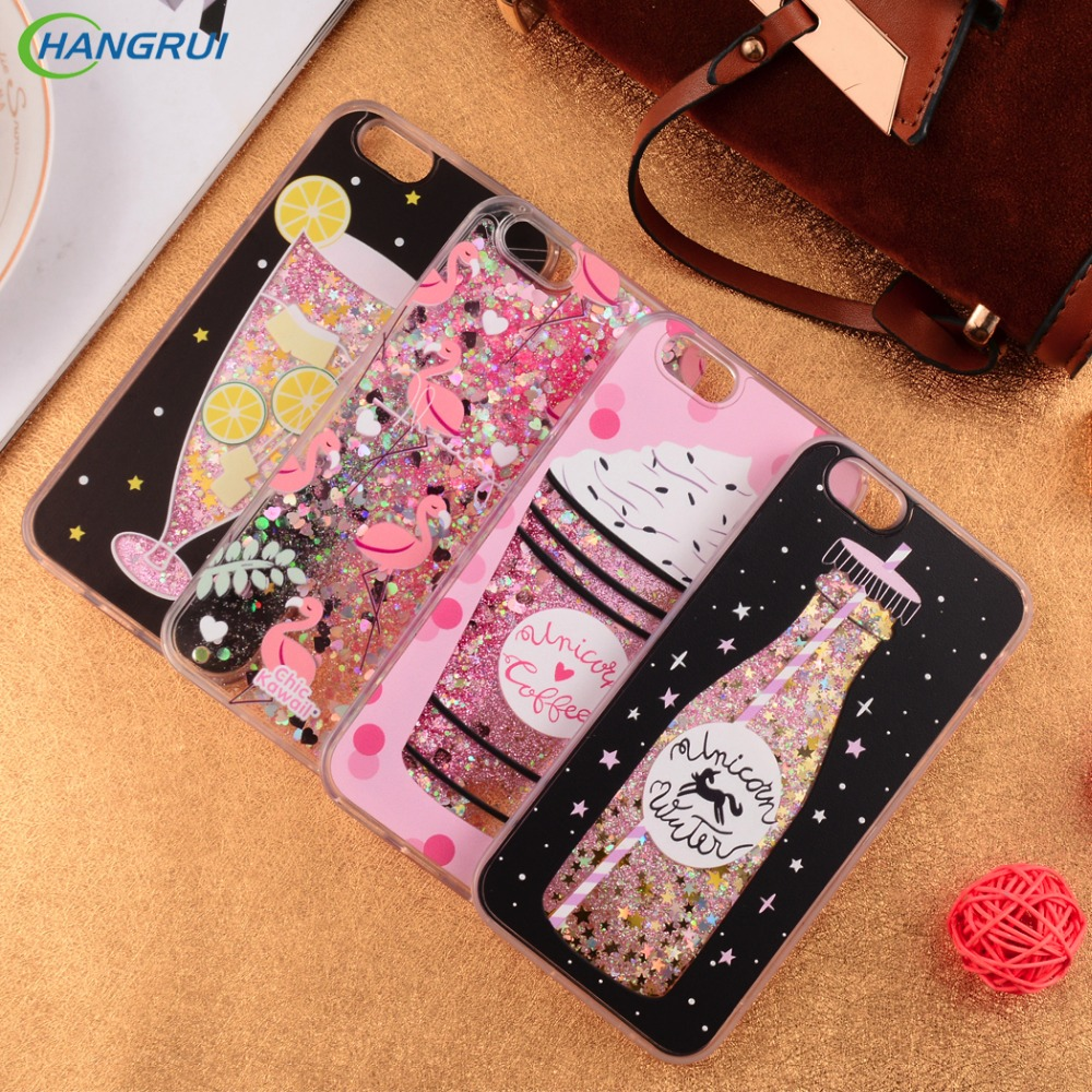 Hangrui for iphone 7 case glitter quicksand flamingo Icecream bling liquid protective back cover case for iphone 6 7 8 plus case