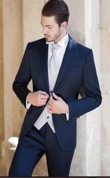 Custom Made Groom Tuxedo Navy Blue Groomsmen Peak Lapel Wedding/Dinner Suits Best Man Bridegroom (Jacket+Pants+Tie+Vest)B427