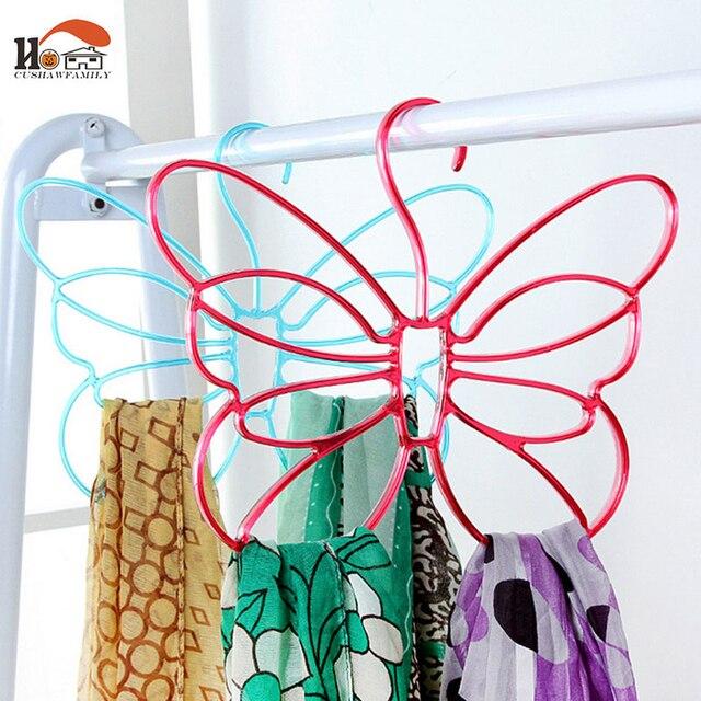 2 pcs/lot CUSHAWFAMILY papillon forme tie rack Cintre multi fonction ...