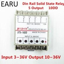 10DD 5 قناة Din السكك الحديدية SSR الخماسي خمسة مدخلات 3 ~ 36VDC الإخراج 10 ~ 36VDC مرحلة واحدة تيار مستمر تتابع الحالة الصلبة