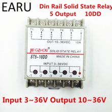 10DD 5 ערוץ מסילת Din SSR quintuplicate חמישה קלט 3 ~ 36VDC פלט 10 ~ 36VDC שלב אחד DC מוצק מצב ממסר