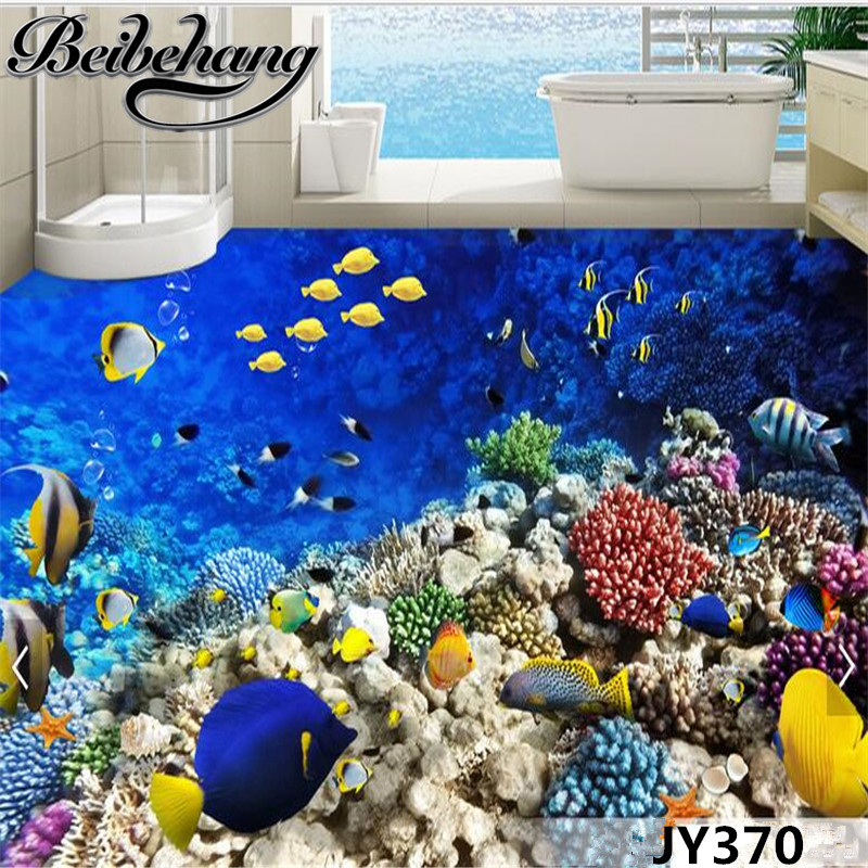 beibehang Waterproof self-adhesive to draw in accordance with the width of the length of custom aquarium tropical fish 3D floor fables of the self – studies in lyric poetry
