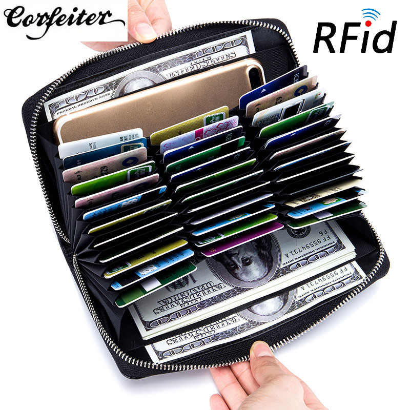Corfeiter Genuine Leather RFID Blocking Credit Card Holder Men Organizer Travel Passport Purse Business Cardholder Women  37