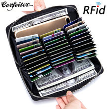 Corfeiter – porte-cartes en cuir véritable pour homme et femme, organiseur de passeport de voyage, porte-cartes d'affaires, blocage RFID, 37
