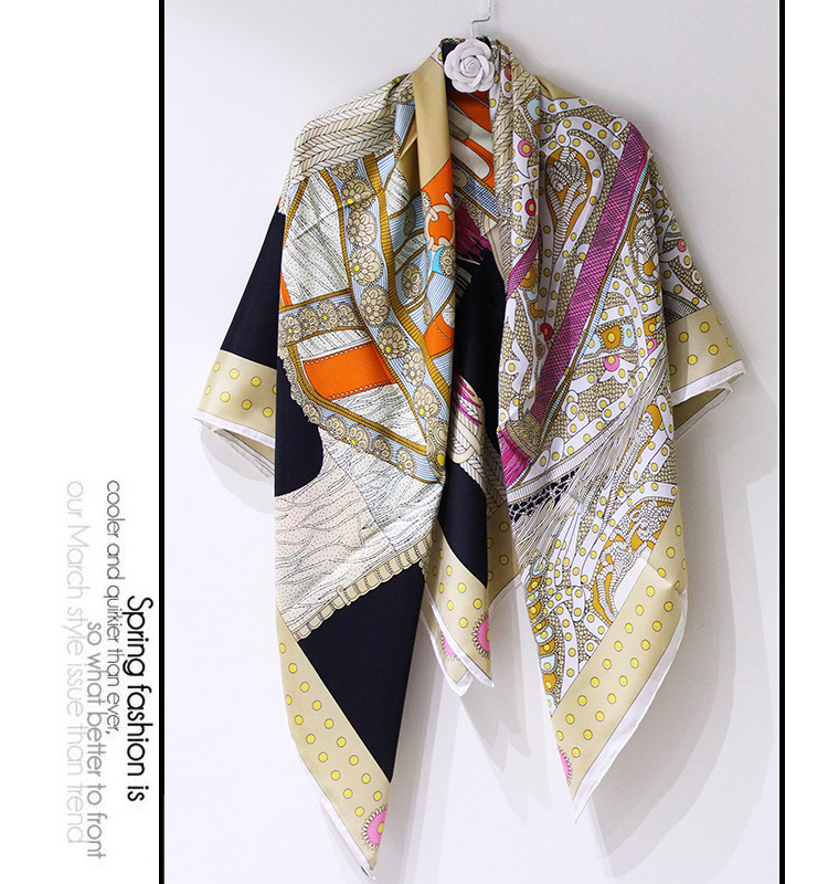New Saddle Print High Grade Silk Scarf Square Scarves Fashion Neck Wear Accessory Clothing Scarfs Drop