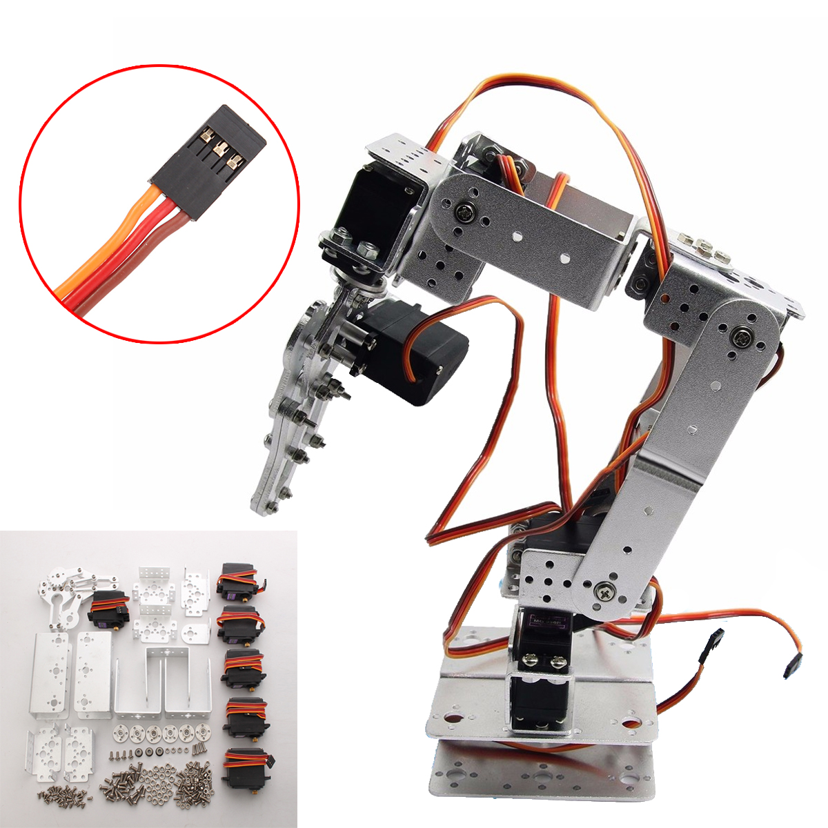 Aluminium Robot 6 DOF Arm Mechanical Robotic Arm Clamp Claw Mount Kit w/Servos Servo Horn for Arduino-Silver Action Toy Figure цена