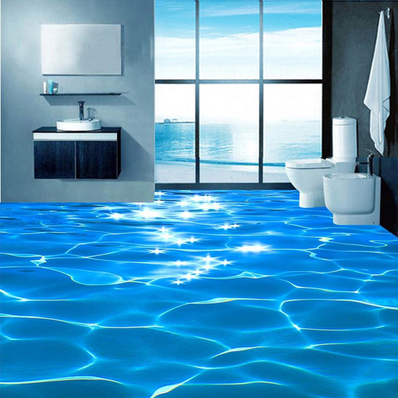 Photo Floor Wallpaper 3D Stereo Glittering Sea Water Floor Mural PVC Self Adhesive Bathroom Waterproof Eco-Friendly 3D Wallpaper