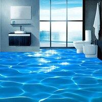 Photo Floor Wallpaper 3D Stereo Glittering Sea Water Floor Mural PVC Self Adhesive Bathroom Waterproof Eco Friendly 3D Wallpaper