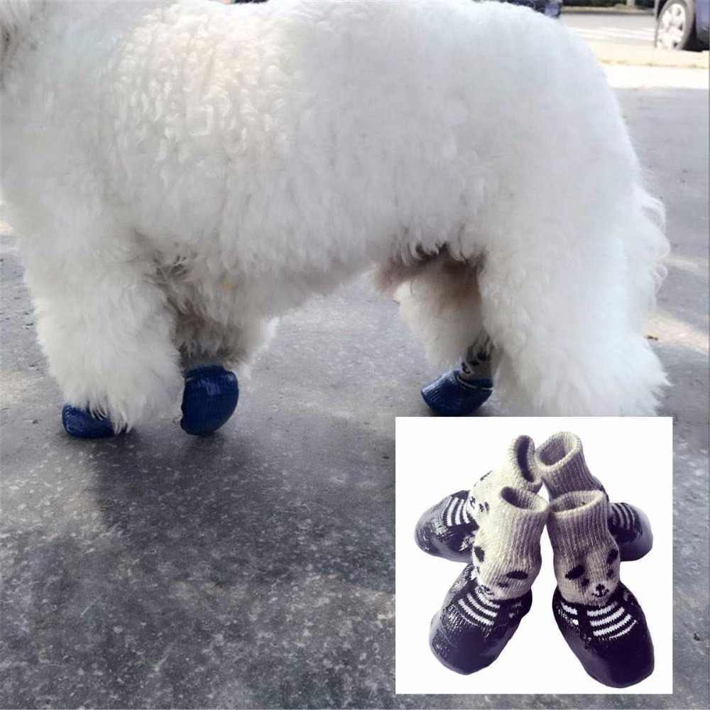 4 Cái/bộ S M L Bông Cao Su Cho Thú Cưng Chó Giày Chống Trượt Chống Thấm Nước Chó Mưa Ủng Tất giày Cho Chó Con Nhỏ Chó Mèo
