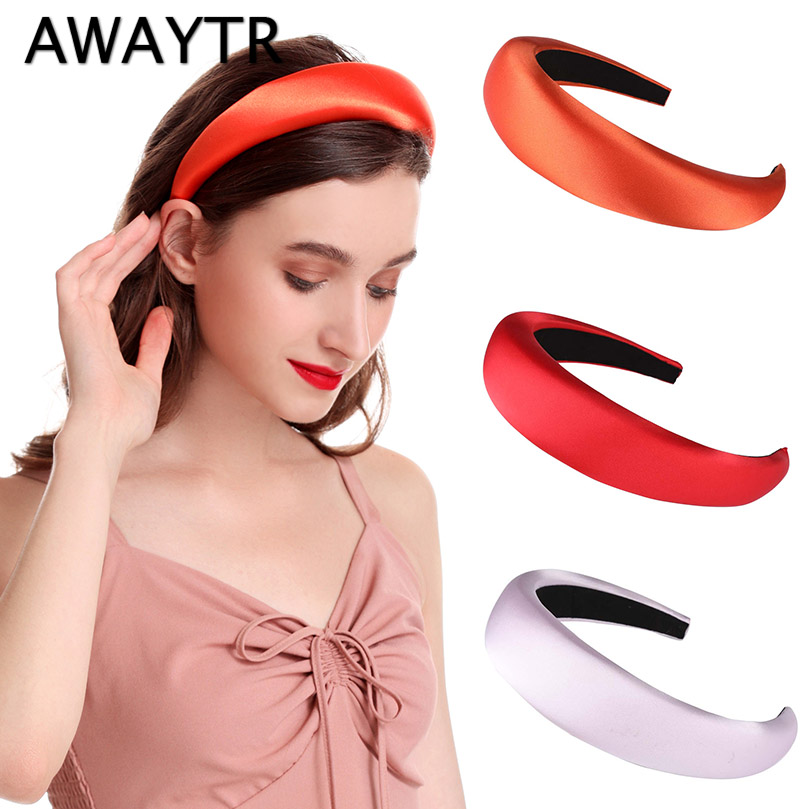 AWAYTR Solid Color Satin Sponge Padded Headband Women Retro Female Turban Hairband Girls Hair Loop Bezel Hair Accessories