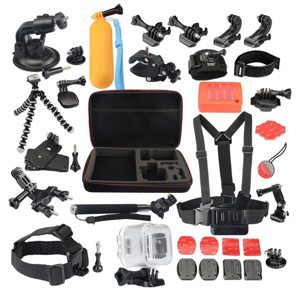 Transparent Waterproof Case 22-in-1 Accessories Kit for gopro Polaroid Cube and Cube+ 45M Waterproof аксессуар крепление polaroid polc3wsm cube waterproof case with suction mount