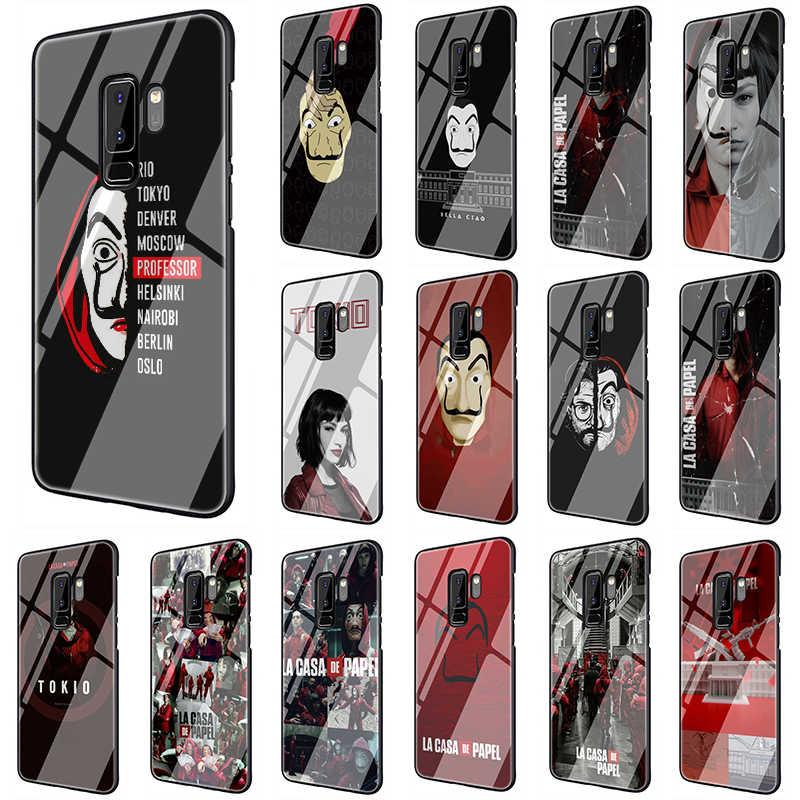 La Casa De Papel De Vidro Temperado Borda Caixa Do Telefone Para Samsung Galaxy S7 S8 S9 S10 Nota 8 9 10 Plus A10 A20 A30 A40 A50 A60 A70 Caso De Telefone