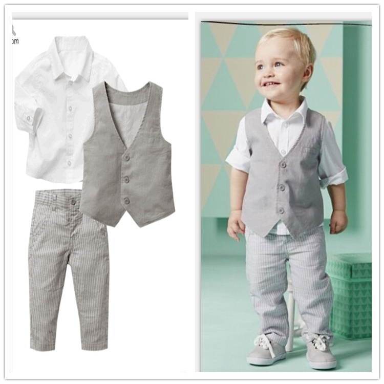 518b70a8b Baby boy birthday dress shirt+pants+vest back to school clothes 3pcs ...