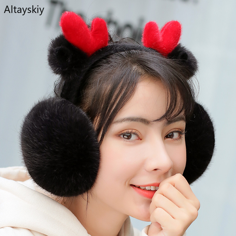 Earmuffs Women Cartoon Christmas Deer Folding Antifreeze Kawaii Womens Ear Warmers Korean Style Trendy All-match Plush Earmuff