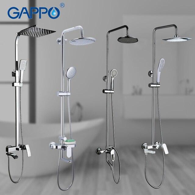 GAPPO Dusche System bad dusche wasserhahn wasserhahn bad mischer badewanne wasserhahn set wasserfall dusche set chrome regen dusche kopf