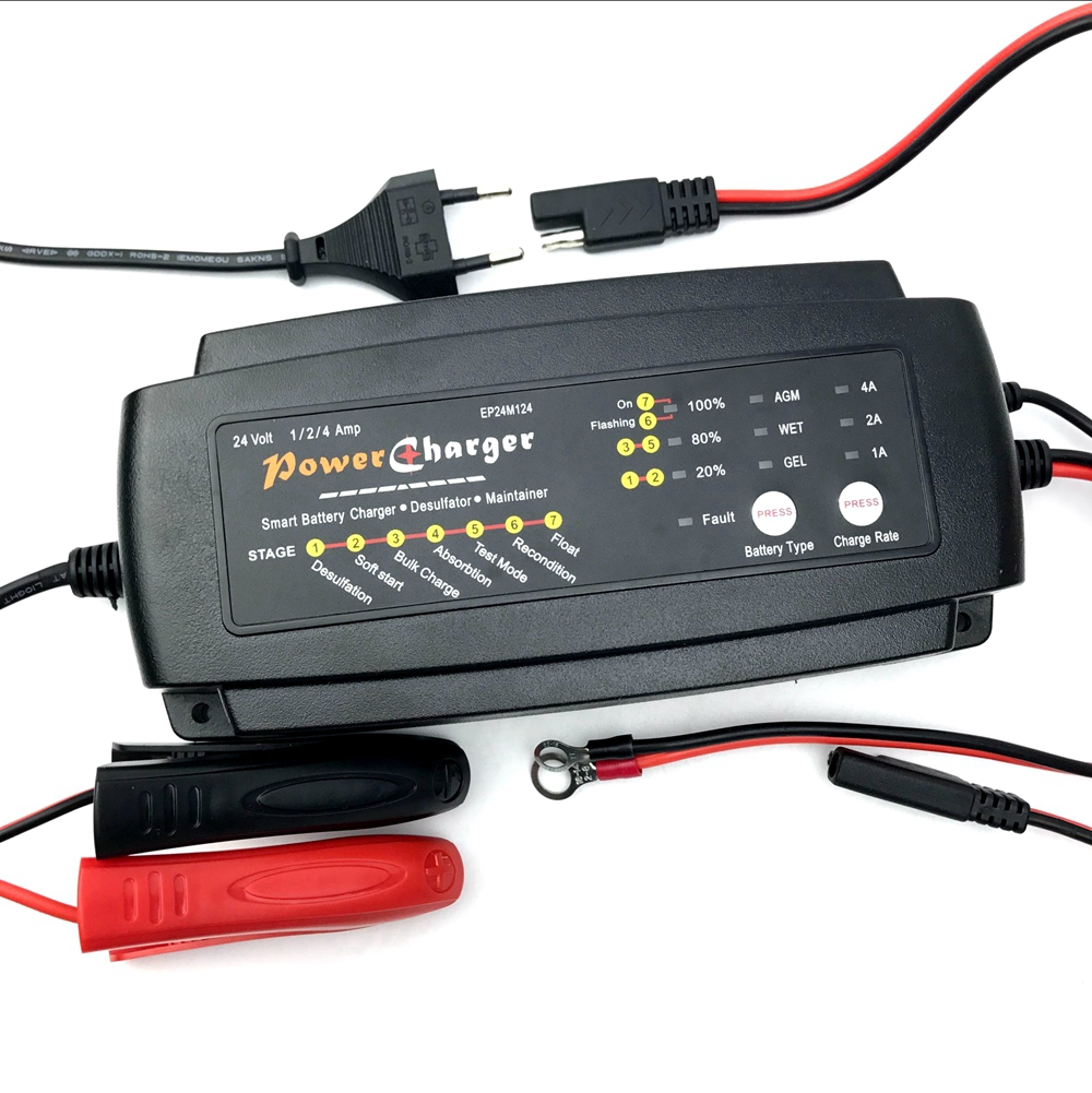 24v 1a 2a 4a selectable smart car battery charger 7 stage maintainer