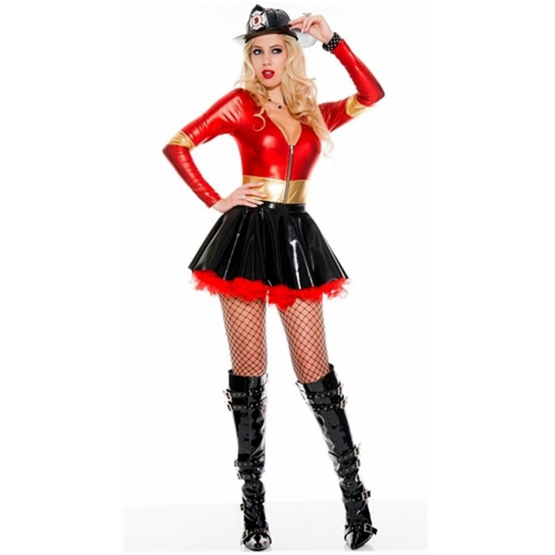 CFYH 2018 Spring Summer Sexy Leather Dress Red Black Patchwork Shiny Deep V Long Sleeve Catsuit Erotic Bondage Pleated Dress
