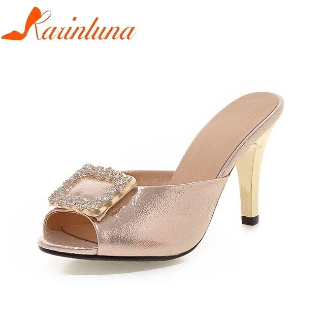 KARINLUNA 2018 Big Size 32-43 brand Crystals Summer Shoes Women 7 Colors  Sexy Thin b46a175c1ae5