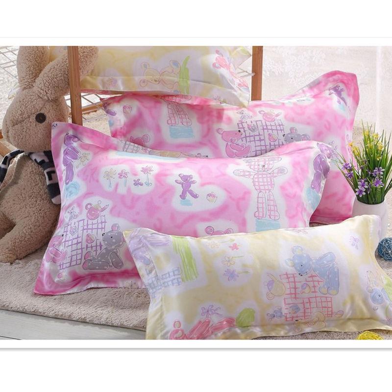 Free shipping 100% silk pillowcase standard size 2 sides silk pillow case cover envelope back printed sham ls1503 10