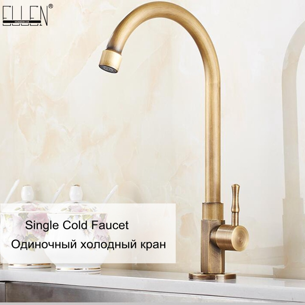 Cold Kitchen Sink Faucet Antique Bronze Finished 360 Degree Single Hole Water Tap Cooper Kitchen Tap ELK12