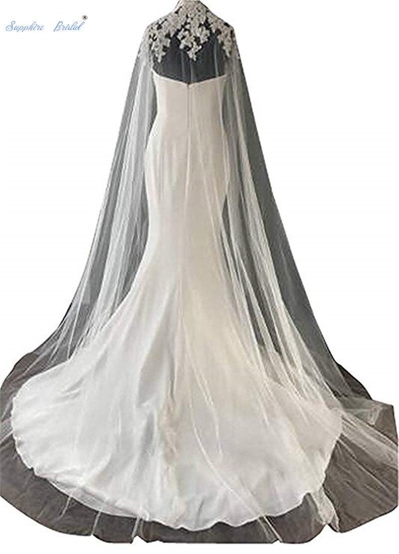 Saphir mariée blanc/ivoire cathédrale longueur Tulle mariage Capes col haut Applique mariage mariée châle Wrap voile voile