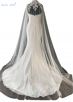 Sapphire Bridal White/ivory Cathedral Length Tulle Wedding Capes High Neck Applique Wedding Bridal Shawl Wrap Cloak Veils