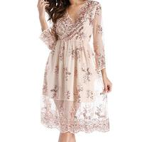 Spring Dress Women Vintage Floral Embroidery Printed Lace Dress Summer Elegant V Neck Sequin Robe Knee