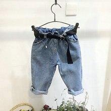 купить Children Long Jeans Pants Spring Baby Girl Boy Denim Loose Trousers Toddler Clothes Fashion Kids Jeans With Belt For 2-7Years по цене 954.96 рублей