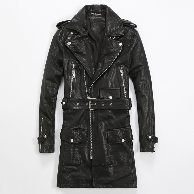 Popular Mens Black Leather Trench Coat-Buy Cheap Mens Black ...