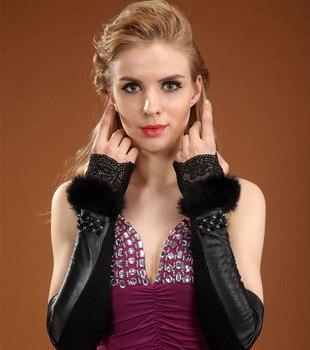 Noir en cuir véritable gants femme bras plus chaud femmes hiver luxe réel fourrure de lapin en peau de mouton longs gants sans doigts