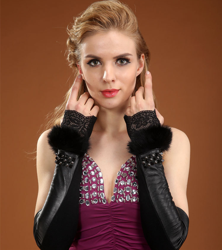 black genuine leather <font><b>gloves</b></font> female arm warmer women winter luxury real rabbit fur sheepskin long fingerless <font><b>gloves</b></font>