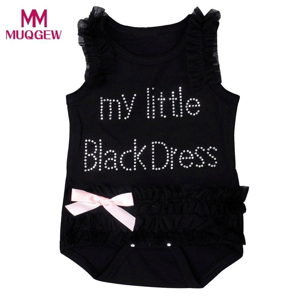 Для новорожденных девочек вышитые кружева немного Платье черного цвета боди