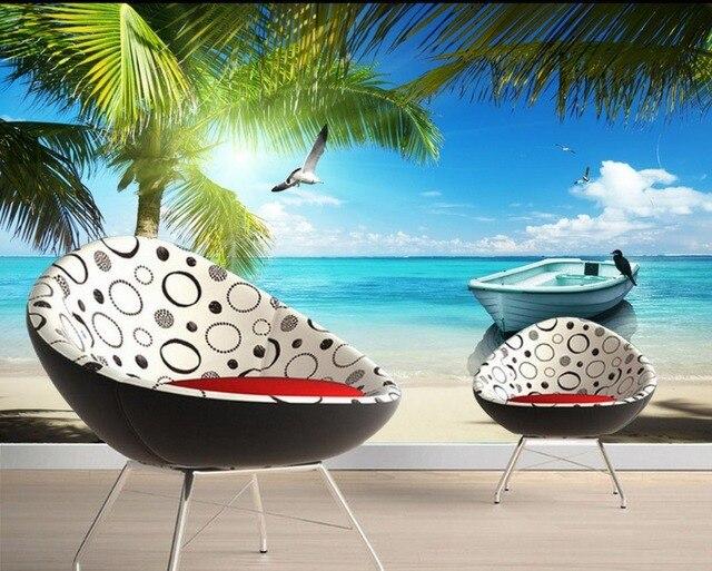 Personalizzato 3d carta da parati Maldive Spiaggia del Mare ad ...