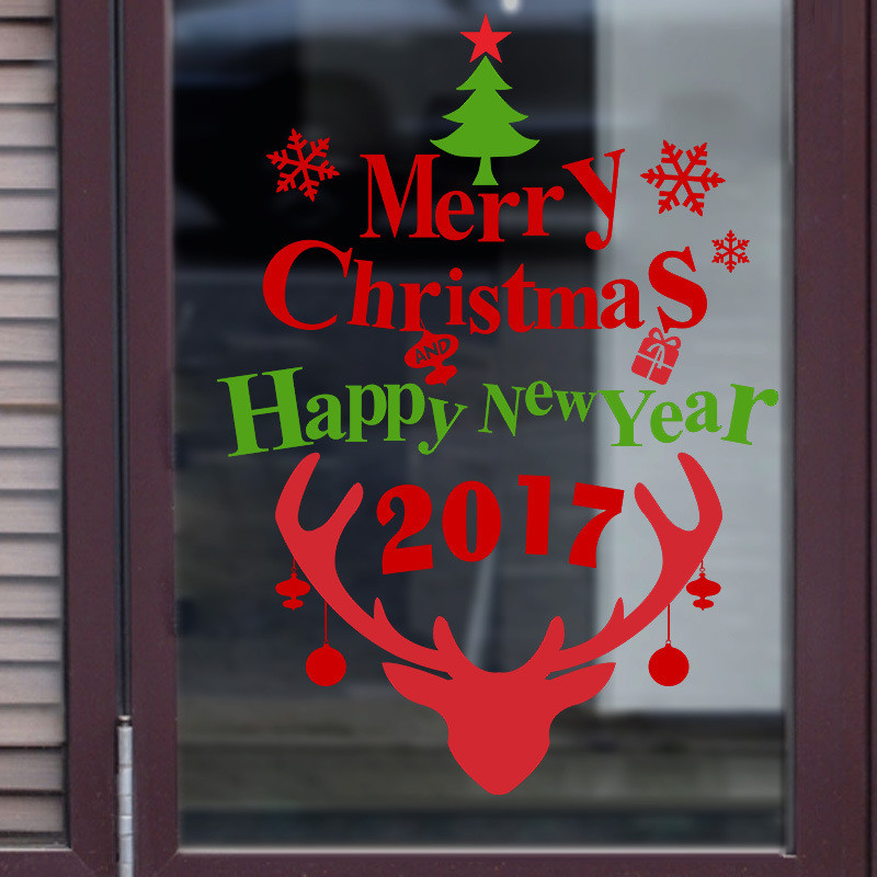 christmas decoration store showcase glass sticker christmas new year quotes pattern removable carved decal window wall stickers