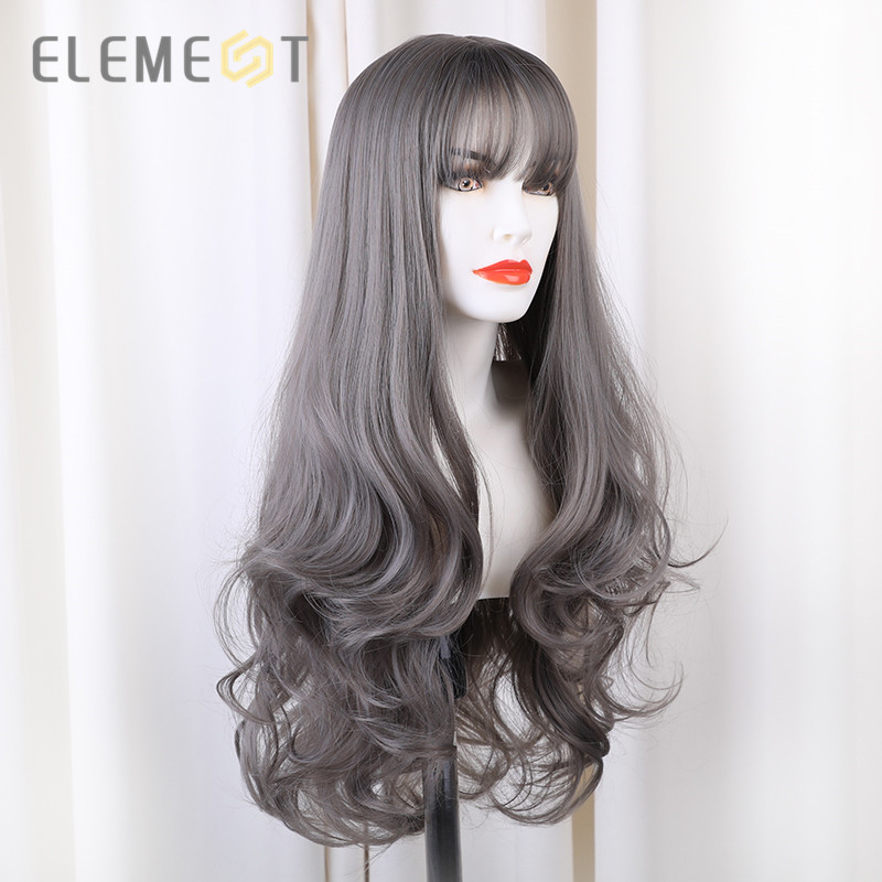 Element 24 Inch Long Synthetic Wig With Bangs Fashion Natural Wave Cosplay Party Wigs For Women Average Wig Cap Free Shipping