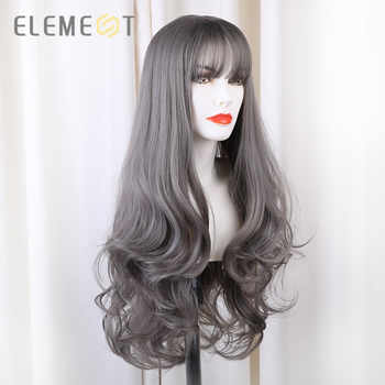 Element Long Synthetic Natural Wave Grey Wigs With Bangs Lolita Cosplay Party Wigs for White/Black Women Heat Resistant Fiber - DISCOUNT ITEM  45 OFF Hair Extensions & Wigs