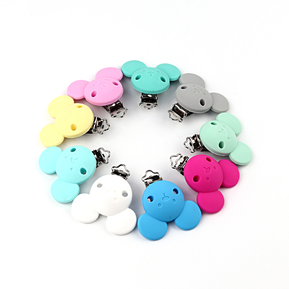 TYRY.HU 1pc Pacifier Clip Baby Silicone Teether Teething Accessories DIY Bead Tool Clip Nipple Clasps Silicone Beads