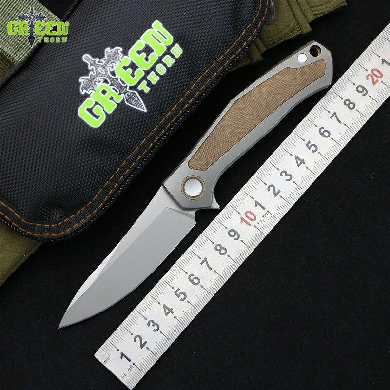 Vert épine CARTES édition Limitée Flipper couteau pliant M390 lame Titane poignée extérieure camping chasse Couteaux de poche EDC outils
