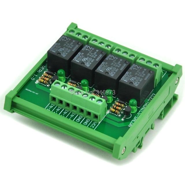 DIN Рейку 4 SPDT Силовых Реле Интерфейсный Модуль, OMRON Реле 10А, 12 В Катушки.
