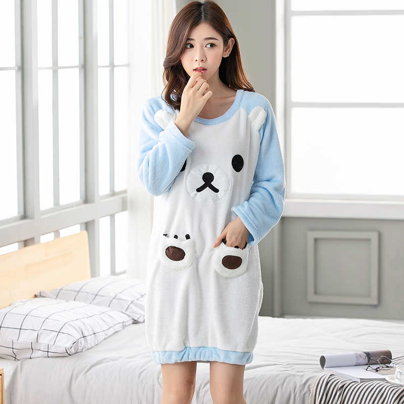 f378afb422 Thick Warm Flannel Nightgowns for Women 2018 Winter Long Sleeve Coral  Velvet Sleepwear Cute Girls Cartoon