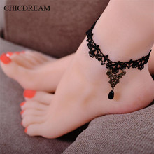 CHICDREAM Gothic Black Lace Anklets Women Accessories Noble Water Drop Bracelet Ankle Support Chains Vintage Ethnic Foot Jewelry