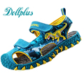 2017 LED chicos sandalias dimensional dinosaurios niños de la manera zapatos de verano recorte antideslizantes niños zapatos de playa para los niños boy
