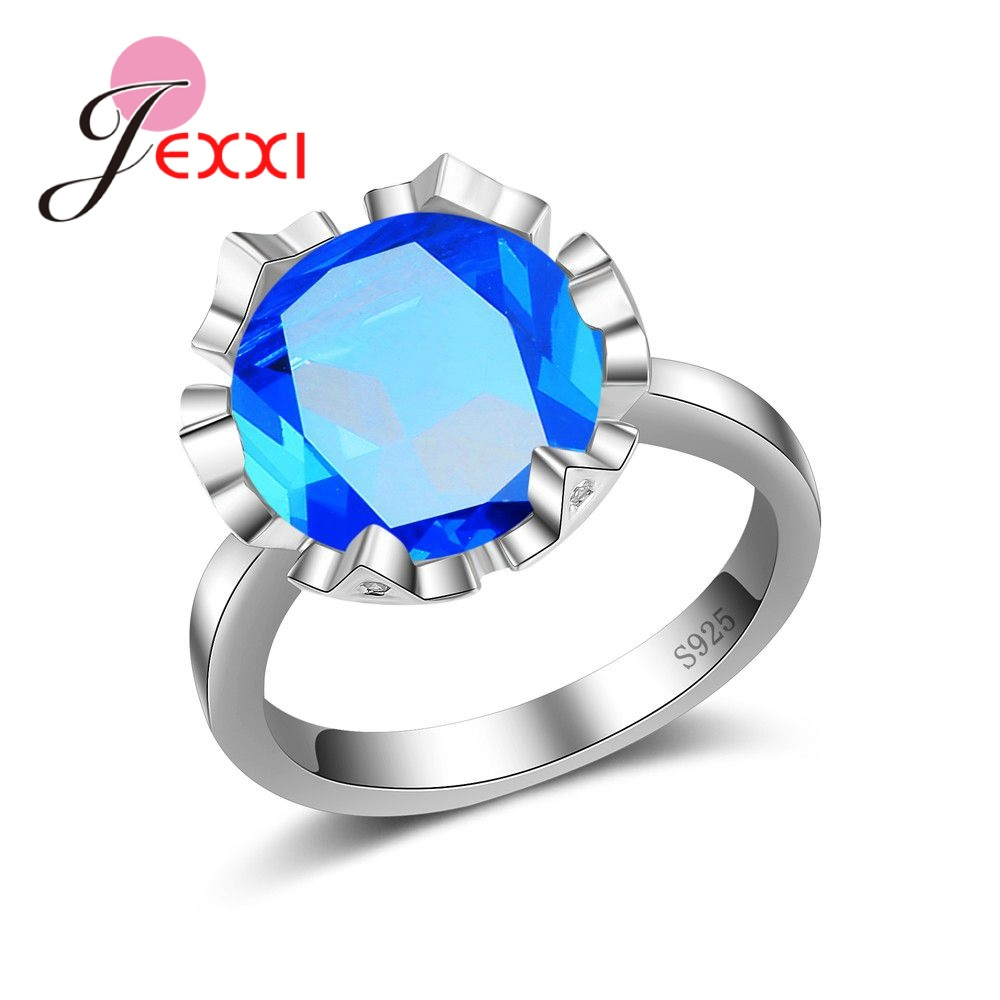 JEXXI Factory Price S90 Silver Geometric Ring With Clear Round Bule Fine Opal Women Girls Party Engagement Jewelry