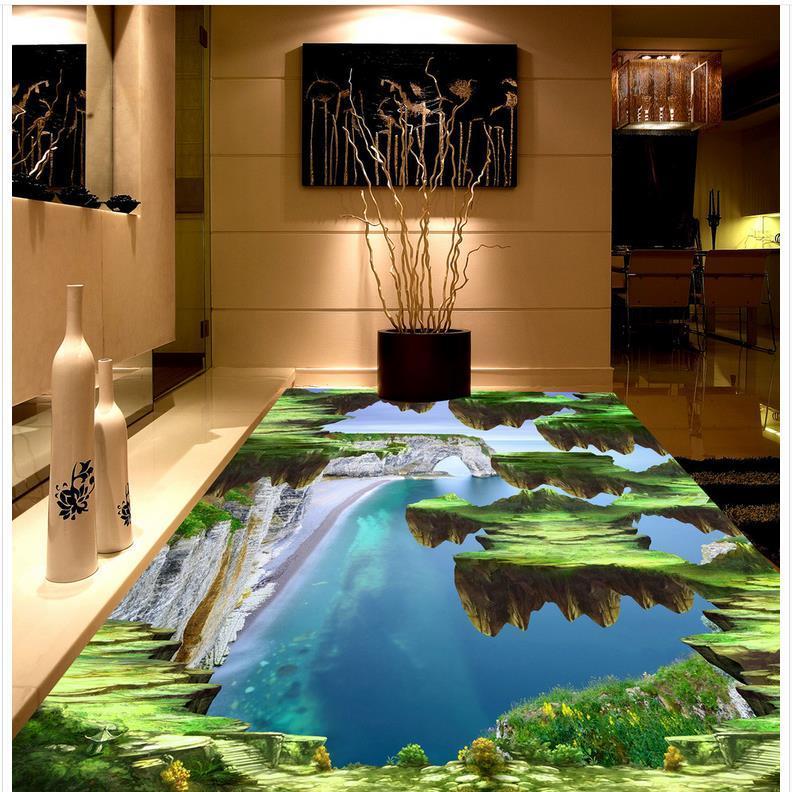 Modern Custom 3D Floor Mural Alpine Sea Mural 3d PVC