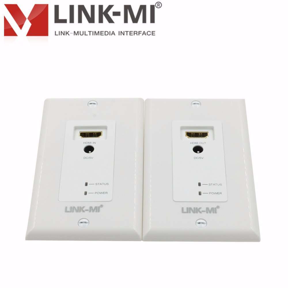 LINK-MI HDMI Wall Plate Extender Over dual via Cat5e/6 Cable HDMI transmitter and receiver Video Audio Outlet 1080p,3D Video