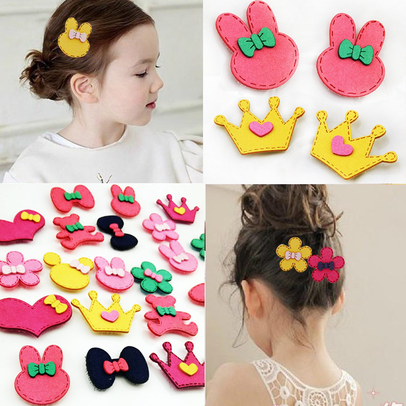 Original New Bang sticker hair Rabbit children bowknot cartoon style Hair stickers magic hair decoration kids hair clip Gift