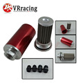 VR RACING- Universal Fuel filter Red with 2pcs AN8 adaptor fittings&2pcs AN10 adaptor fittings VR5563