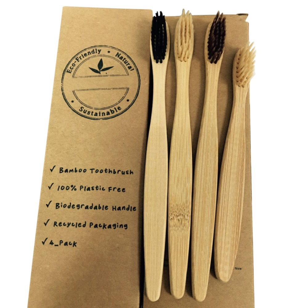4 Pcs Natural Bamboo Toothbrush Eco-Friendly Antibacterial Wooden Toothbrush Oral Hygiene Oral Care Portable
